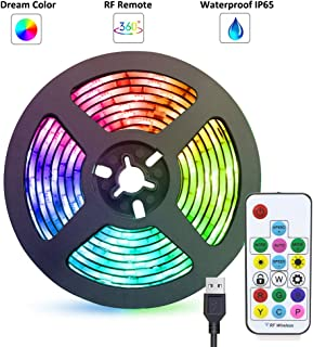 LED Strip Lights USB Powered abtong Rainbow Color LED Lights Strip LED TV Backlight Strip with RF Remote Color Changing Strip Lights LED Rope Lights Waterproof IP65 LED Lights 2M 6.54FT
