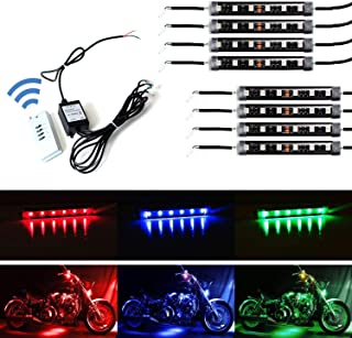 iJDMTOY 8pcs RGB Multi-Color LED Motorcycle Ground Effect Light Kit w/Wireless Remote Control