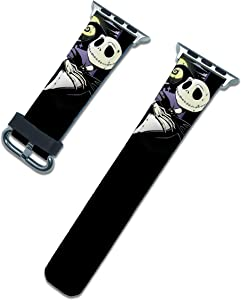 Halloween Nightmare Before Christmas Band Compatible with Apple Watch Series SE 6 5 4 3 44mm 40mm 42mm 38mm iWatch Jack Skellengton Replacement Strap (Black, 38/40mm)
