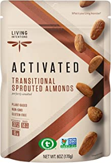 Living Intentions Sprouted Transitional Almonds - NonGMO - Gluten Free - Vegan - Paleo - Kosher - 6 Oz