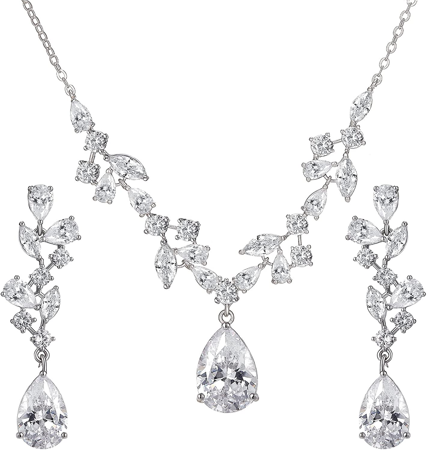 SWEETV Wedding Jewelry Sets for Brides Bridesmaid Women, CZ Marquise Teardrop Bridal Necklace Earrings Set Wedding Prom Costume Jewelry Gifts