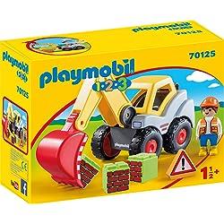 PLAYMOBIL-70125 Playmobil 1.2.3 Pala excavadora, multicolor