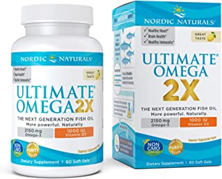 Nordic Naturals Ultimate Omega 2X with Vitamin D3, Lemon Flavor - 2150 mg Omega-3 + 1000 IU D3-60 Soft Gels - Omega-3 Fish...
