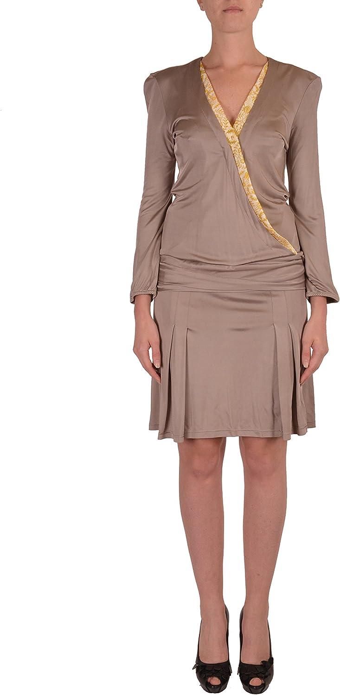 Just Cavalli Beige Long Sleeves Women's Wrapped Dress US S IT 40