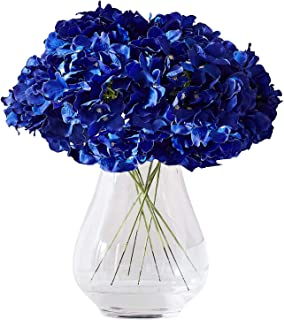 Kislohum Hydrangea Silk Flower Heads 10 Royal Blue Artificial Hydrangea Silk Flowers Head..
