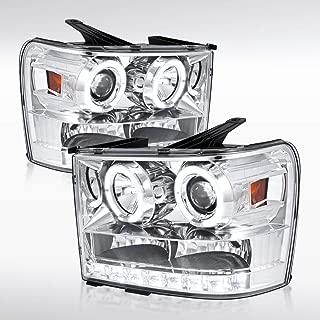 Autozensation For GMC Sierra 1500/2500 HD Denali Chrome Halo LED Projector Headlights Pair