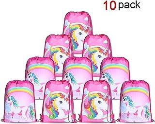 Konsait Einhorn Muster Cute Kordelzug Rucksack Bag Turnbeutel für kinder Mädchen Frauen gym sack beutel Einhorn Geschenke party deko kindergeburtstag -Set von 10