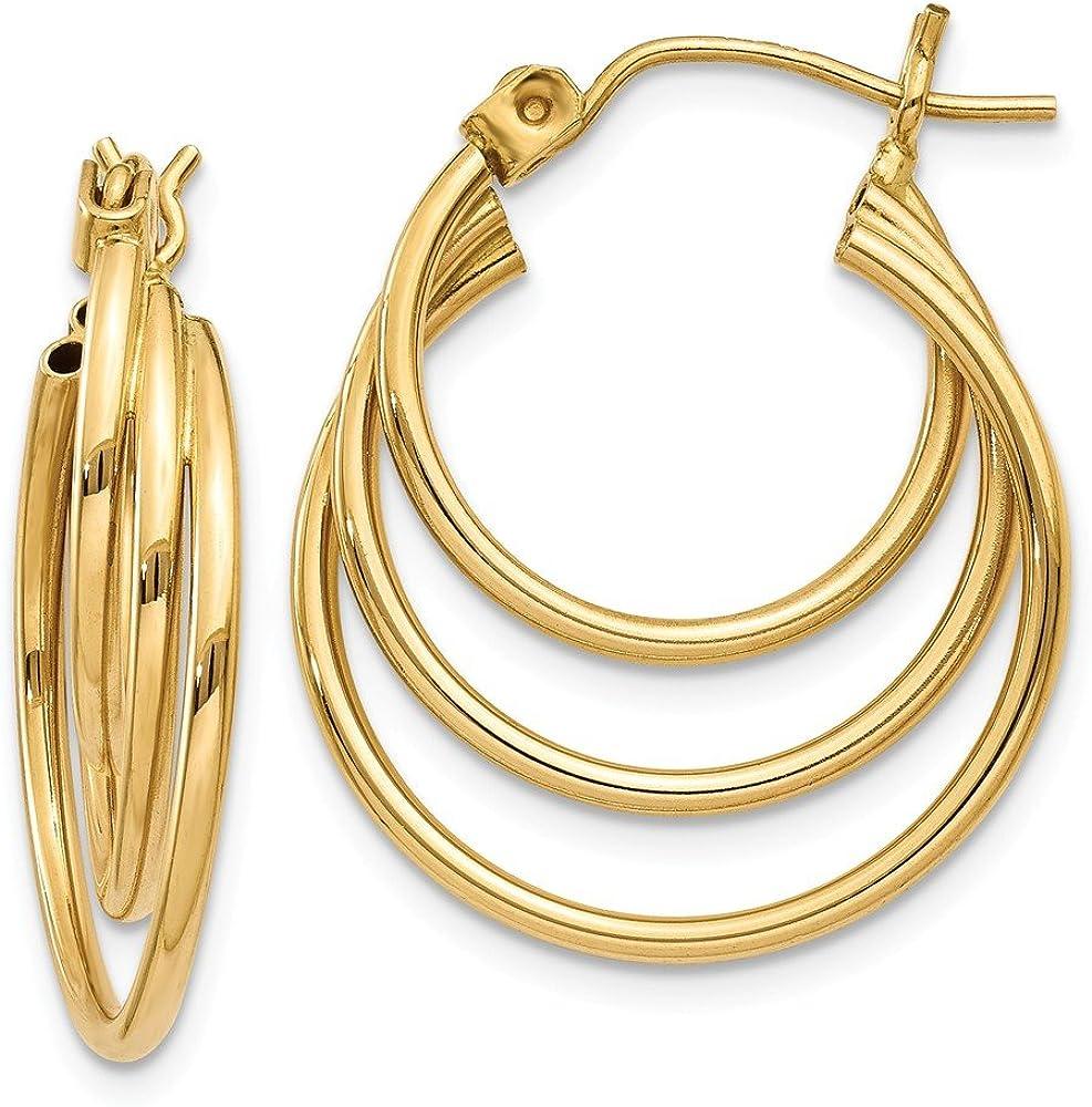 14k Yellow Gold Triple Hoop Earrings Ear Hoops Set Fine Jewelry For Women Gifts For Her