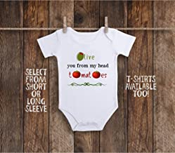 Funny Garden Olive You From My Head Tomatoes Toddler Kids Tee Shirt or Baby Bodysuit