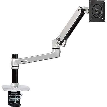 Amazon Basics - Staffa a braccio per monitor singolo, alta qualità, con sistema di sollevamento motorizzato, in alluminio, argento