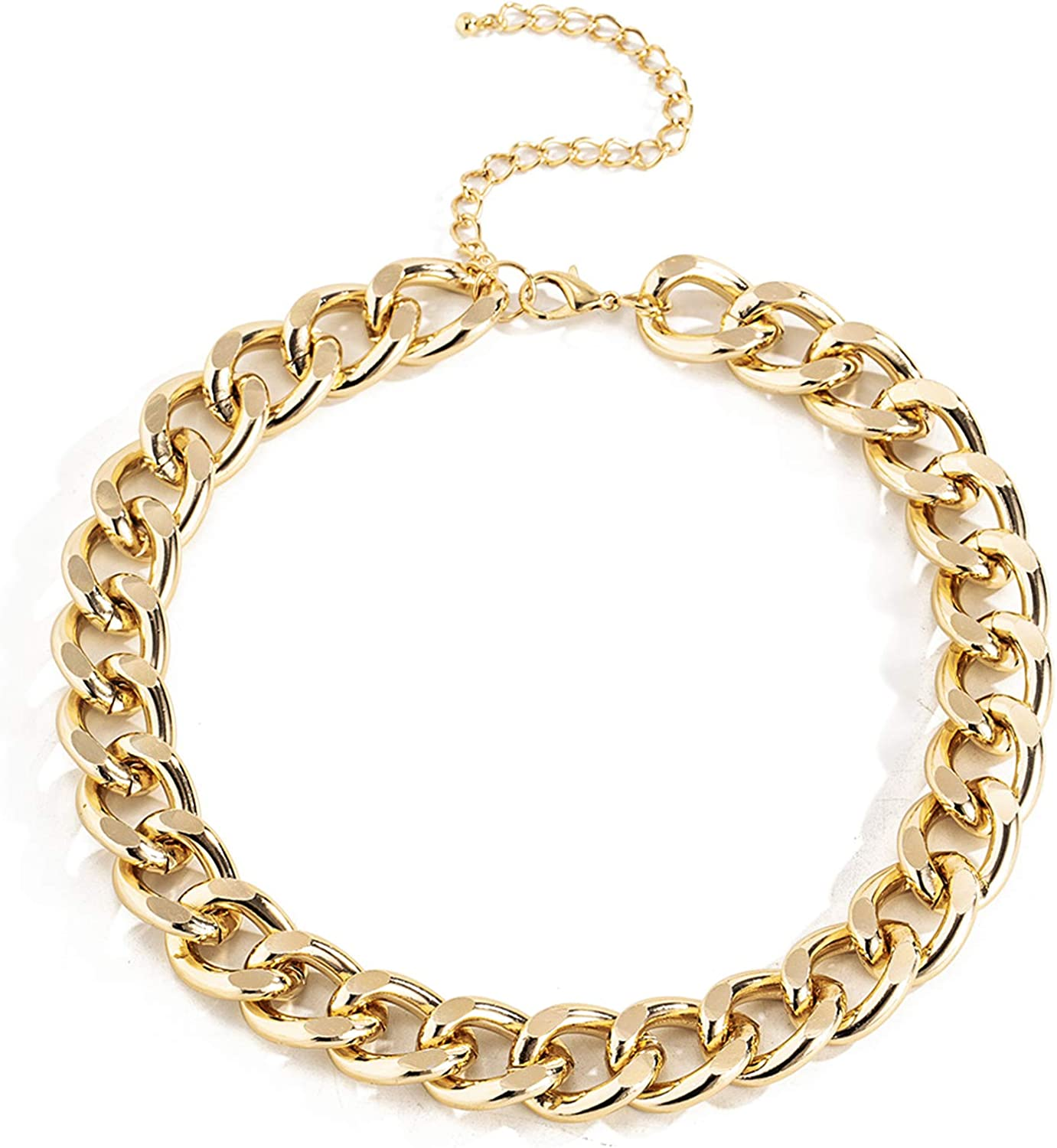 Ingemark Cuban Chunky Link Chain Choker Unisex Punk Style Thick Wide Necklace Jewelry