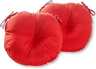 Greendale Home Fashions 15-Inch Round Indoor/Outdoor Bistro Chair Cushion, Salsa, Set of 2