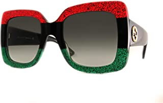 Gucci GG0083 Glitter Red Black Glitter Emerald/Grey Gradient One Size, 55-24-140