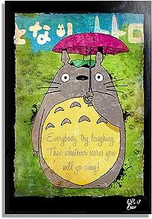 My Neighbor Totoro by Hayao Miyazaki Studio Ghibli - Pop-Art Original Framed Fine Art Painting, Image on Canvas, Artwork, Movie Poster, Anime, Manga