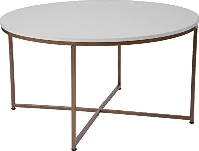 Flash Furniture Hampstead Collection White Coffee Table with Matte Gold Frame