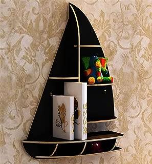 Kitzen Ship Type Creative Bookshelf Wall Shelf Wall Hanging Living Room TV Backdrop