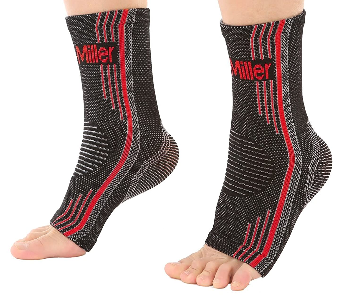 Doc Miller Premium Ankle Brace Compression Support Sleeve Socks for Swollen Foot Plantar Fasciitis Achilles Tendonitis, Use as Injury Support Recovery Eases Pain Swelling 1 Pair (Red, Large)