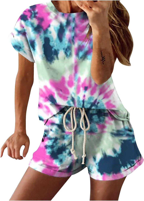 Women's Loungewear Tie Dye Print Casual Loose Pajamas Summer Outfits Short Sleeve Tops + Shorts 2 Pcs Set Homewear