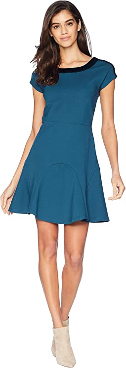 Knit Flirty Ponte Dress w/ Velvet Trim