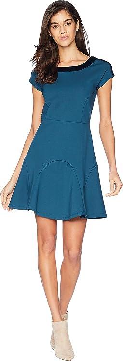 Knit Flirty Ponte Dress w/ Velvet Trim