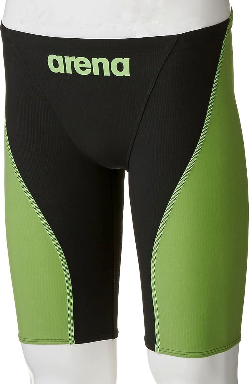 その民主党緑arena(アリーナ) 競泳用 水着 ボーイズ ジュニア AQUAFORCE FUSION 2 ハーフスパッツ FINA承認 ARN-7011MJ BKLG(ブラック×Lグリーン) R130サイズ