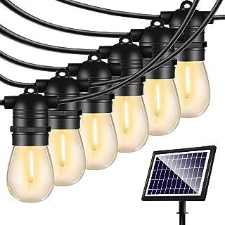48FT Solar String Lights Outdoor - Shatterproof Vintage Edison Bulbs & 4 Light Mode Weatherproof Strand -LED String Lights...