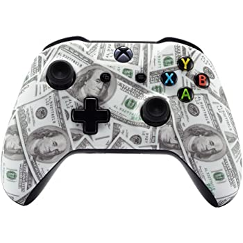 eXtremeRate 100 Cash Money Patterned Faceplate Cover for Xbox One Wireless Controller 1708, Soft Touch Replacement Front Housing Shell Case for Xbox One X & One S Controller - Controller NOT Included