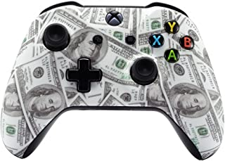 eXtremeRate 100 Cash Money Dollar Pattern Faceplate Cover, Soft Touch Front Housing Shell Case, Comfortable Soft Grip Replacement Kit for Microsoft Xbox One X & One S Controller