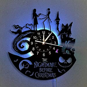 The Nightmare Before Christmas Vinyl Record Wall Clock LED Light 12