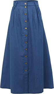 QuanLi Womens Casual Denim Front Button A-Line Skirts High Waisted Midi Skirt with Pockets