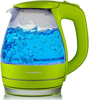 Ovente Electric Kettle, 1.5L, 1100W, BPA-Free, Heat-Tempered Borosilicate Glass, Stainless Steel, Auto Shut-Off & Boil-Dry Protection, Blue LED Lights, Green (KG83G)