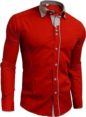 Moderno Camisa para hombre elegante rojo o color azul marino ...