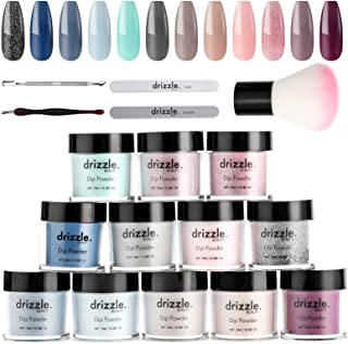 Drizzle Dip Powder Kit Nail Powder Colors Set 12 Color Dipping Nail Powder Starter Kit Royal Collection Blue Gray Glitter Series Color for Nails For French Nail Manicure Gift