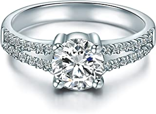 Tresor 1934 Sterling Silver Ring With White Zirconia Brilliant Cut Engagement Ring set silver with stone Proposal Ring