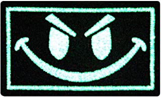 EmbTao Glow in Dark Evil Smiley Smile Face ISAF US Army Milspec Swat Embroidered Iron On Sew On Patch