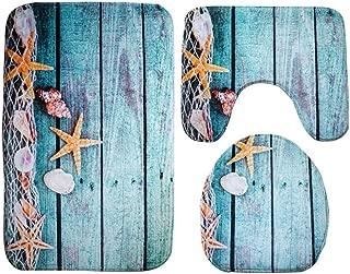 GBSELL 3pcs/set Bathroom Non-Slip Blue Ocean Style Pedestal Rug + Lid Toilet Cover + Bath Mat