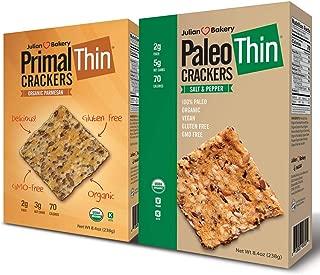 Paleo & Primal Thin Crackers) (Salt & Pepper & Parmesan) (Organic, Low Carb, Gluten-Free, Grain-Free)(Variety 2 Pack)