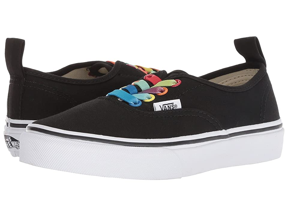 Vans Kids Authentic Elastic Lace (Little Kid/Big Kid) ((Rainbow Shine) Black/True White) Girls Shoes