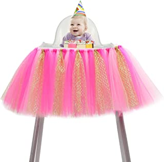 ZL Magic Handmade Glitter Soft Tulle Tutu Skirt High Chair Decoration for Baby 1st Birthday Party Baby Party Supplies (Ros...