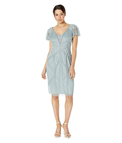 Adrianna Papell Embellished V-Neck Flutter Sleeve Cocktail Dress (Horizon) Women
