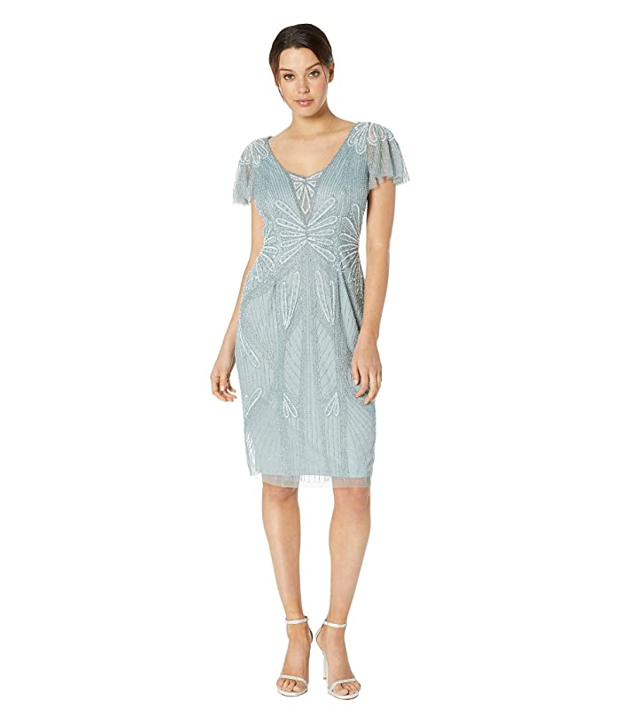Flapper Dresses & Quality Flapper Costumes Adrianna Papell Embellished V-Neck Flutter Sleeve Cocktail Dress Horizon Womens Dress $184.14 AT vintagedancer.com