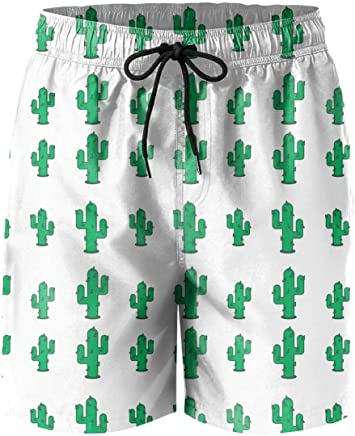 8fe9721ec7692 Mens Abstract Cute Saguaro Cactus Green Beach Shorts Surfing Activewear  Quick-Dry Boardshorts