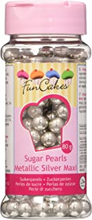 FunCakes Decoraciones de Perlitas de Azúcar Color Plata Metalizada de 8mm de Grosor para Decorar Tartas, Cupcakes, Galleta...
