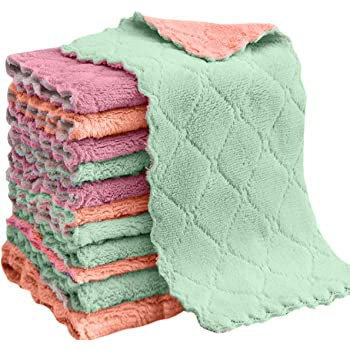 """vimihousewares Vimi Microfiber Cleaning Cloth, 12-Pack 6""""x10""""Dish Towel, for All-Purpose, Assorted Colors, Strong Absorption Water and Remove The Oil and dust Kitchen Towels"""