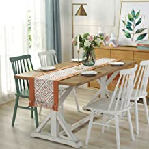 """JYQ Floral Polyester and Cotton Table Cloth Runners with Tree (15"""" x 72"""", Orange Grid)"""
