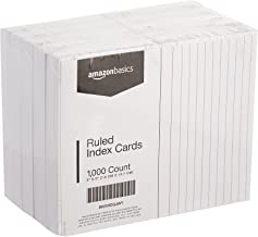 AmazonBasics Ruled Lined Index Cards - 3x5 Inches (10 Packs of 100)