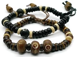 BrownBeans, Set of 2, Wood Beads Macrame Women Mens Boys Sliding Knot Adjust Bracelets (CBCT6005)