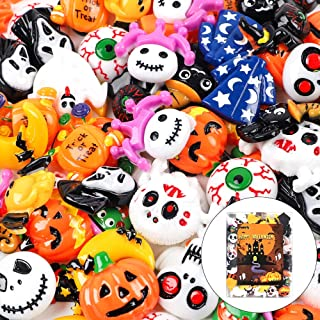 Funarty 100 Pcs Halloween Cute Slime Charms Assorted Resin Flatback Wizard Pumpkin Lantern Ghost Skull Castle Embellishment for Slime Party, Craft Making, Ornament Scrapbooking DIY Crafts