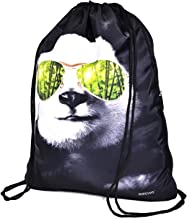Panda Black Drawstring Backpack Bag Sackpack Gym sack Sport Beach Daypack for Hiking Team Swimming Training Yoga Gym Outdoor Exercise