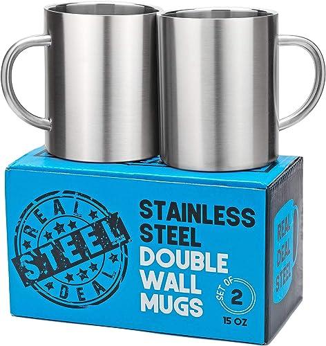 Stainless Steel Double Walled Mugs: 100% BPA Free,15 oz Metal Coffee & Tea Cup Mug - Insulated Cups with Handles Keep...